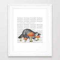 badger Framed Art Prints featuring badger by vidikay