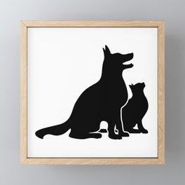Dog and Cat BFFs Framed Mini Art Print