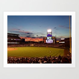 Denver Rockies 7, LA Dodgers 5, and Denver with a Beautiful Night Sky.  Art Print