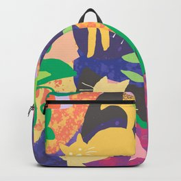 Cats and Plants with Abstract Background Backpack