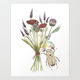 Beetle and Flowers No. 1 Art Print