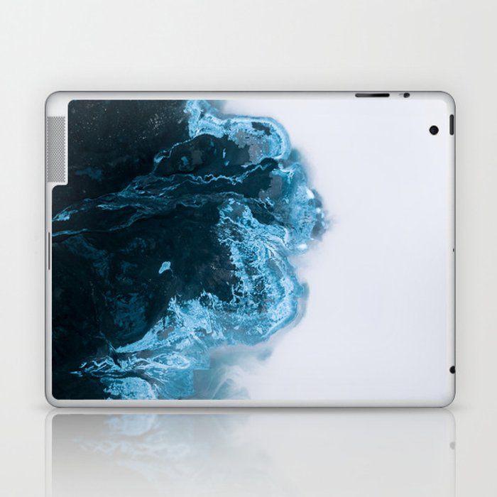 Abstract Aerial Lake in Iceland – Minimalist Landscape Photography Laptop & iPad Skin