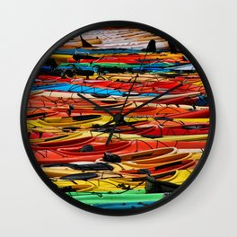 Several different color of Kayaks Wall Clock
