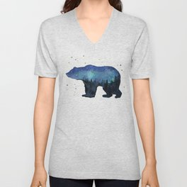 Forest Bear Silhouette Watercolor Galaxy Unisex V-Neck