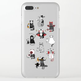 Halloween Cats In Terrible Imagery Clear iPhone Case