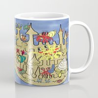 downton abbey Mugs featuring Downton Crabbey by Amy Gale