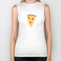 pizza Biker Tanks featuring Pizza by Melissa Sohmer