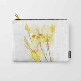 Yellow Irises, Soft yellow Floral Art Carry-All Pouch