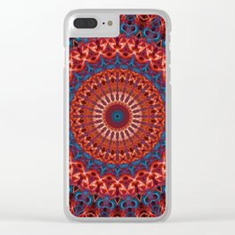 Detailed mandala in red and blue Clear iPhone Case