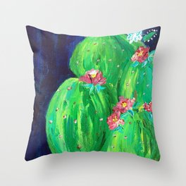 Flowering Prickly Pear Cacus Throw Pillow