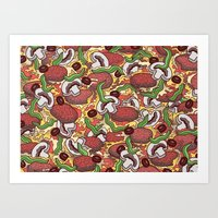 pizza Art Prints featuring Pizza by Raewyn Haughton