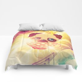 Kawaii pug flying in a cup lightings and starry texture Comforters