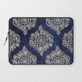 Cream Floral Moroccan Pattern on Deep Indigo Ink Laptop Sleeve