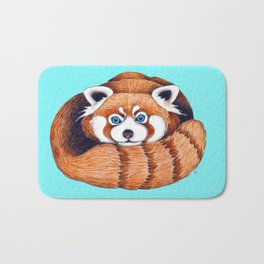 Cute Red Panda Bear On Turquoise Bath Mat