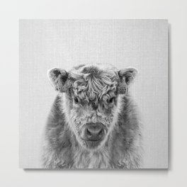 Fluffy Cow - Black & White Metal Print