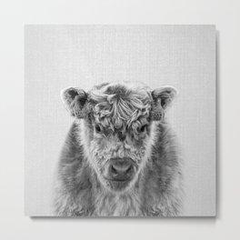 Fluffy Cow - Black & White Metal Print