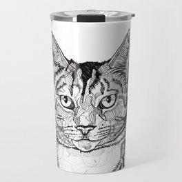 Cat line drawing portrait black and white illustration Travel Mug
