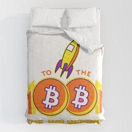 To the Moon, Bitcoing Halvening 2020 - DARK VERSION V-Neck T-Shirt Comforters