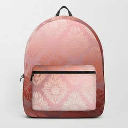"""Millennial Pink Damask Pattern"" Backpack"