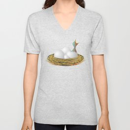 Hungry little bird and eggs in the nest Unisex V-Neck