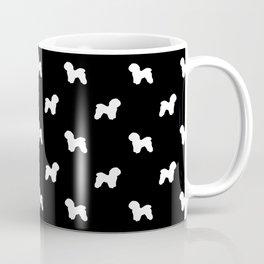 Bichon Frise dog pattern black and white minimal pet patterns dog breeds silhouette Coffee Mug