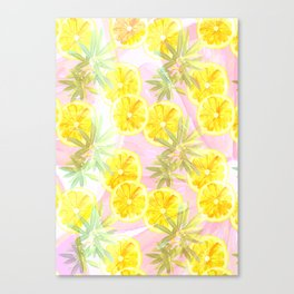 Leafy Orange Print Canvas Print