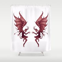 diablo Shower Curtains featuring Double Diablo by Little Bunny Sunshine