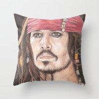 jack sparrow Throw Pillows featuring Captain Jack Sparrow by JadeJonesArt
