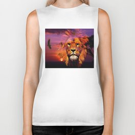 Lion And An Eagle In A Sunset By Annie Zeno  Biker Tank