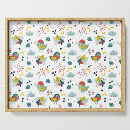 winter birds pattern Serving Tray