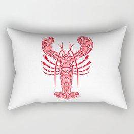 Tribal Maine Lobster on White Rectangular Pillow