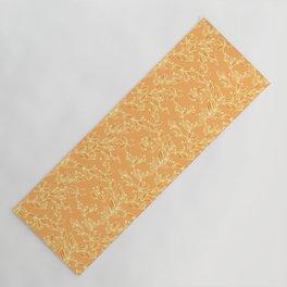 Orange Floral Pattern Yoga Mat