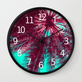 Peach and Teal Tropical Tree Wall Clock