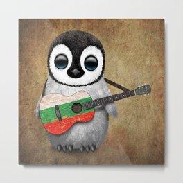 Baby Penguin Playing Bulgarian Flag Acoustic Guitar Metal Print