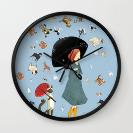 It's Raining Cats and Dogs - Popular Saying - Digital Collage Artwork Wall Clock