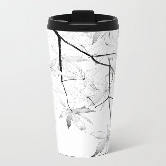 black and white maple leaves Metal Travel Mug