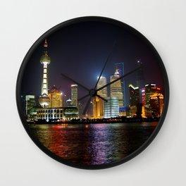 Night in Shanghai, China Wall Clock