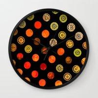drum Wall Clocks featuring Fire Drum by M.D. Becker