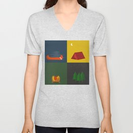 Camping Series: Canoe, Tent, Fire, Trees Unisex V-Neck