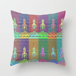 Twelve Colorful Space Rockets Throw Pillow