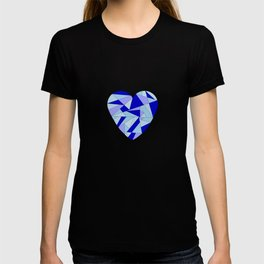Fractal Blue Heart T-shirt