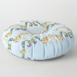 A Brown Cat Sprouting Flowers Floor Pillow