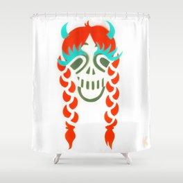 Happy braided Skull Lady_Fire Orange Shower Curtain