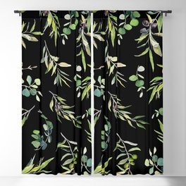 Eucalyptus and Olive Pattern  Blackout Curtain
