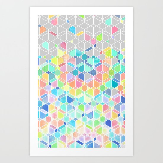 Rainbow Cubes & Diamonds Art Print