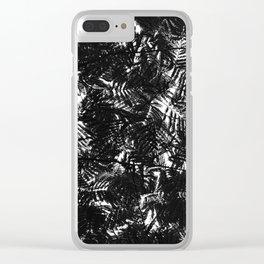 Monochrome Leaf Pattern Clear iPhone Case