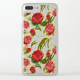 Eucalyptus Leaves and Protea Flowers Clear iPhone Case