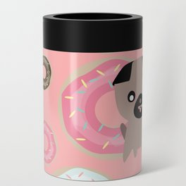 Pug and donuts pink Can Cooler