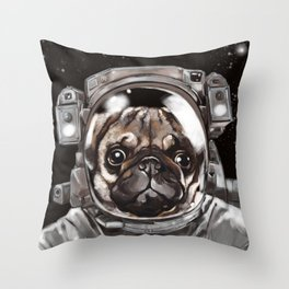 Astronaut Pug Selfie Throw Pillow