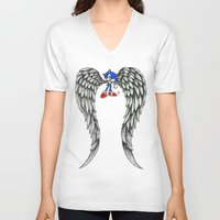 sonic V-neck T-shirts featuring Sonic Angel by Hollie B